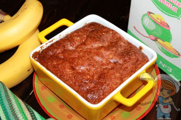 Пирог из овсянки с бананом и творогм
