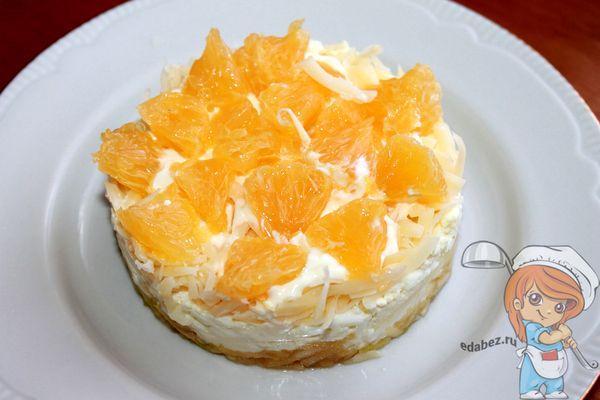 воздушный салат с сыром и апельсином