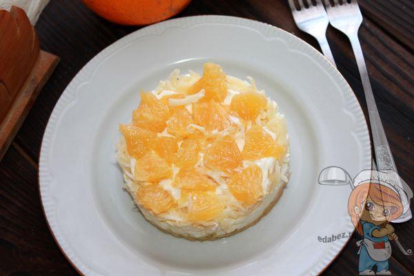 Рецепт салата с апельсином, яблоком и сыром