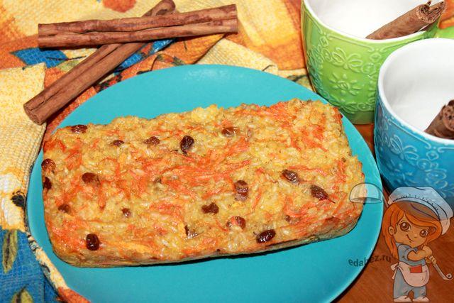 Морковная запеканка без творога: с рисом и изюмом