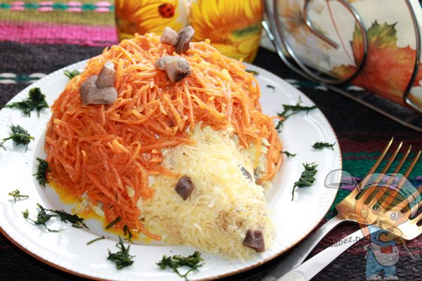 Красивый салат Ежик