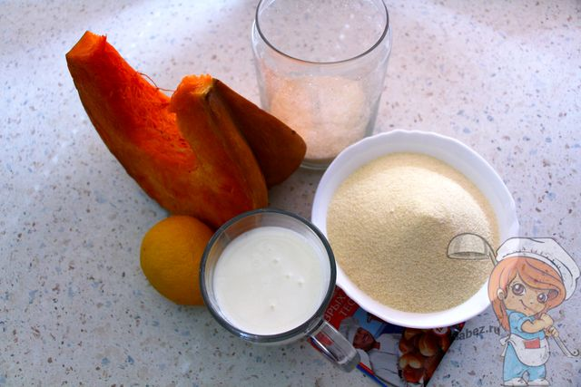 Манник с тыквой без яиц: ингредиенты