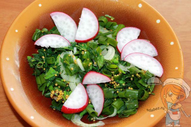 Украшаем салат редисом