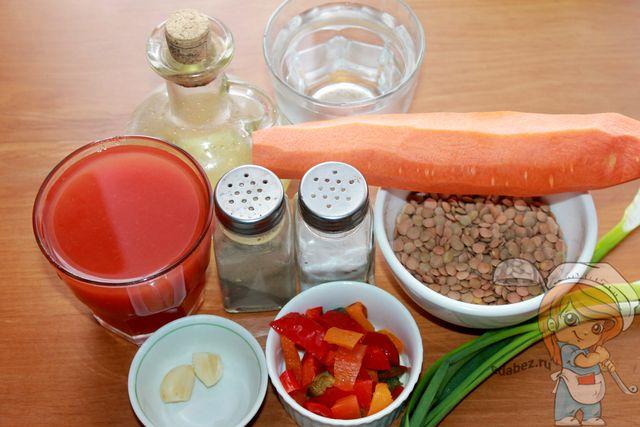 Томатный суп с чечевицей: ингредиенты