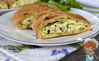 слоеный пирог с рукколой и творогом - рецепт с фото