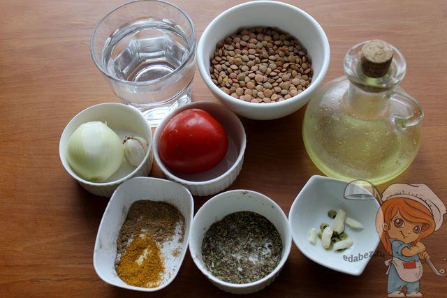 Продукты для салата с чечевицей