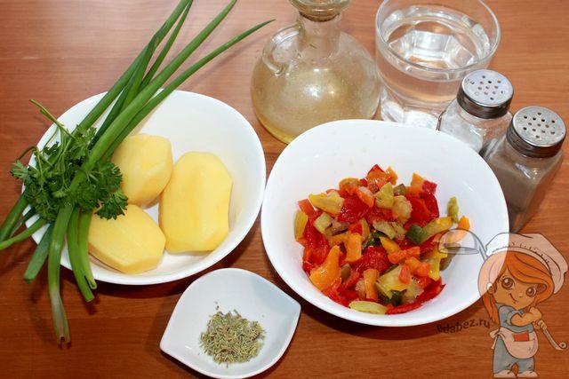 Продукты для овощного супа с болгарским перцем