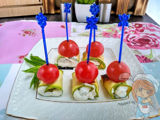 овощные рулеты из кабачков с творожным сыром