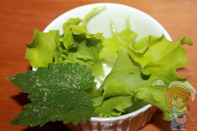 Промываем листья салата и мяты