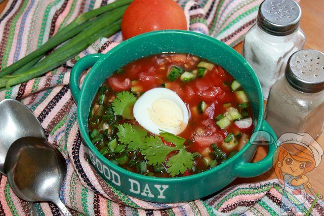 Томатная окрошка на томатном соусе