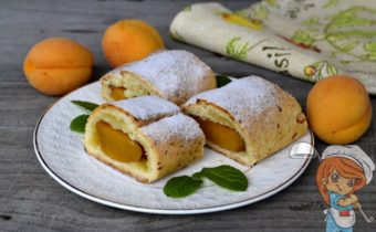 Рулет из творожного теста с абрикосами - рецепт с фото