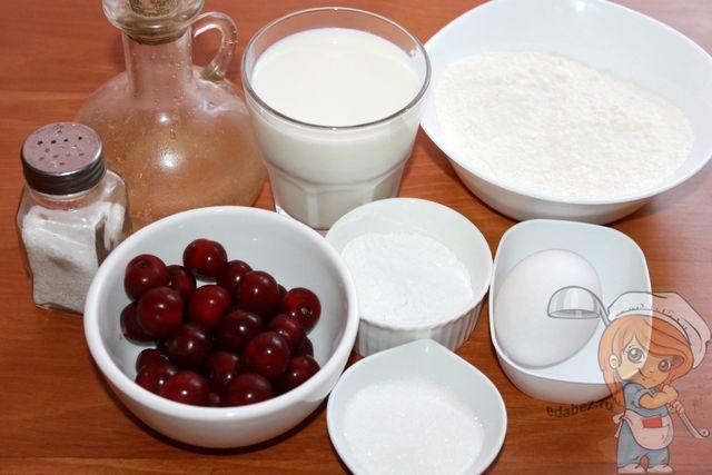 Продукты для блинов с вишней