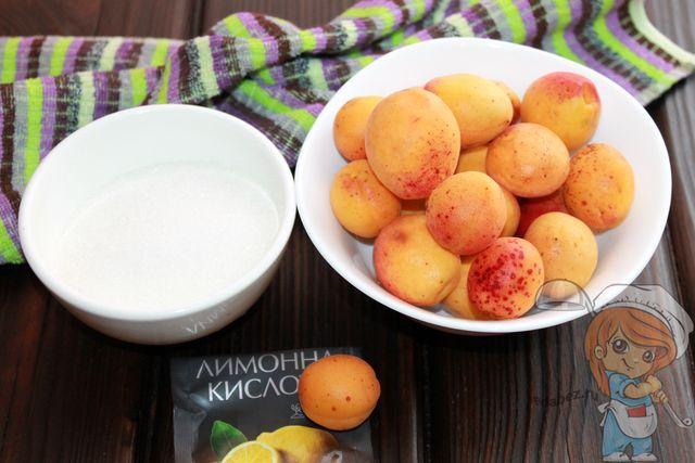 Продукты для приготовления абрикосового джема
