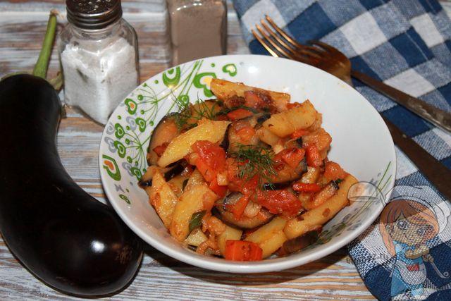 Картошка с баклажанами - пошаговый рецепт овощного рагу