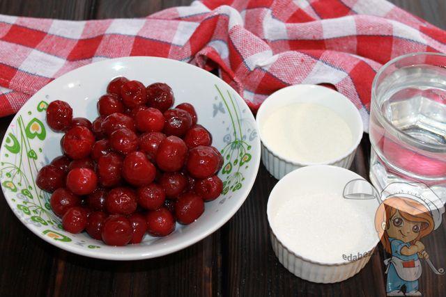 Продукты для мусса из вишни
