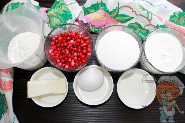 Ингредиенты для песочного пирога с брусникой