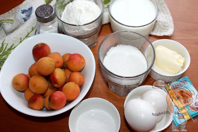 Продукты для заливного пирога с абрикосами