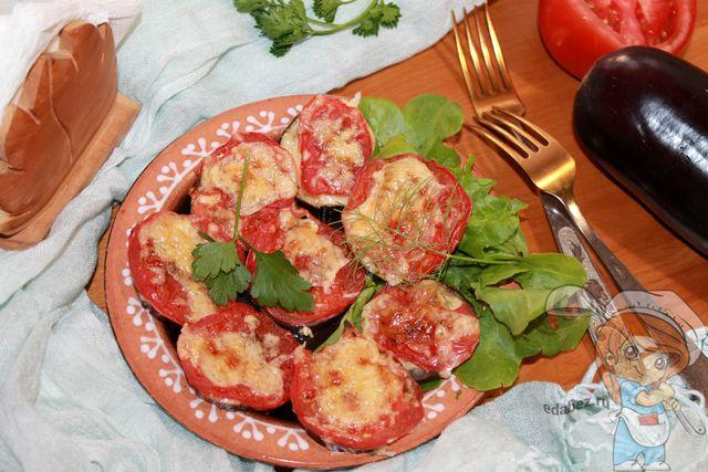 Декорируем наши баклажаны с помидорами