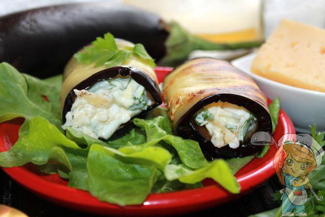 рулетики из баклажанов с сыром, рецепт с фото