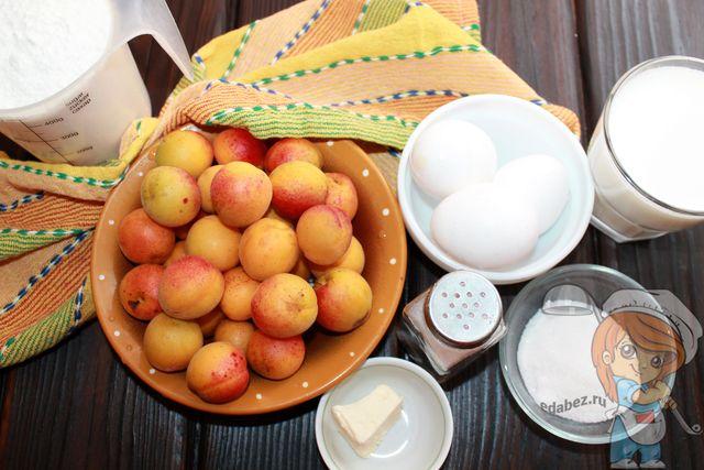 Продукты для французского пирога с абрикосами