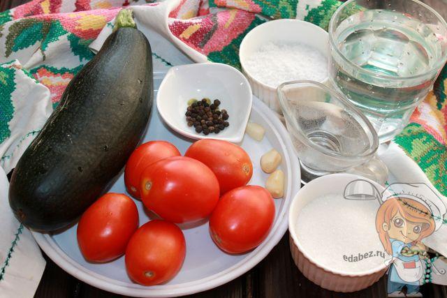 Продукты для консервации кабачков с помидорами