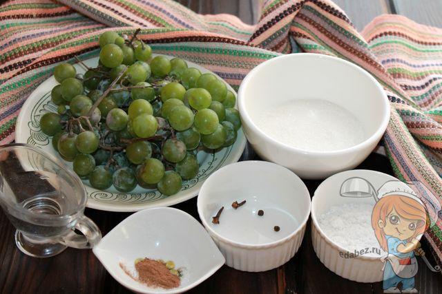 Продукты для маринования винограда на зиму