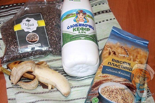 Продукты для овсяной каши с бананом