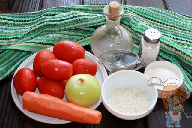 Продукты для приготовления салата с томатами и рисом