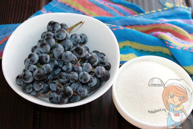 Ингредиенты для виноградного джема