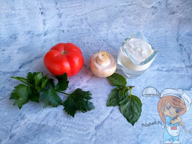Ингредиенты для бутербродов с шампиньонами