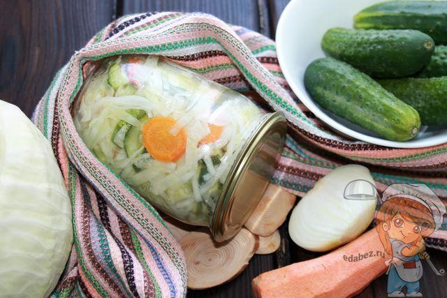 салат из огурцов и капусты на зиму, рецепт с фото