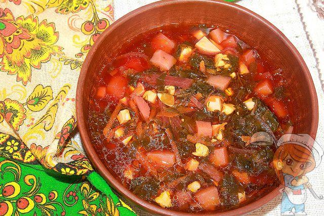 Зеленый борщ со щавелем, рецепт с фото