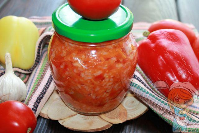 Болгарский салат с рисом, рецепт на зиму