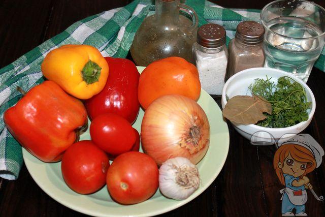 Продукты для овощного рагу из болгарского перца