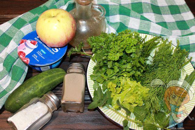 Ингредиенты для зеленого холодного супа