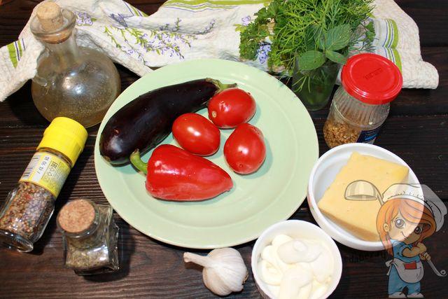 Продукты для праздничного салата с перцем и баклажанами