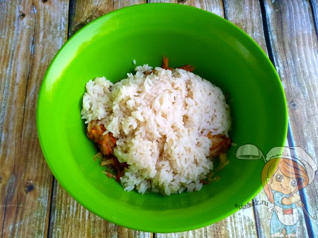Соединяем рис с яблоком