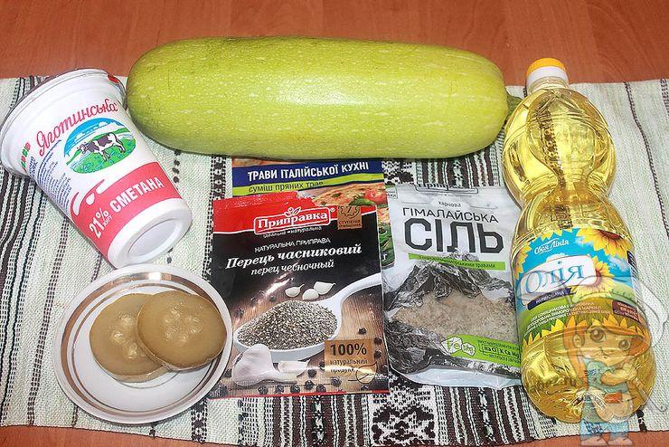 Ингредиенты для жарки кабачков