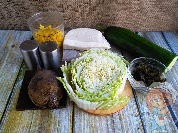 Продукты для вегетарианского крабового салата