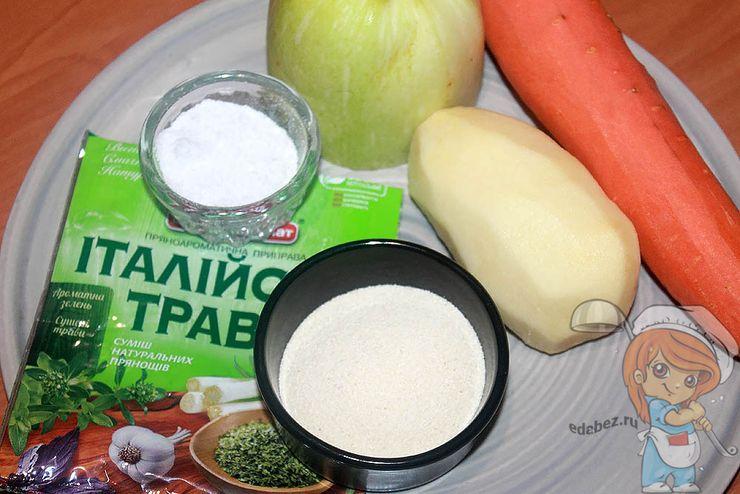 Продукты для супа с манкой