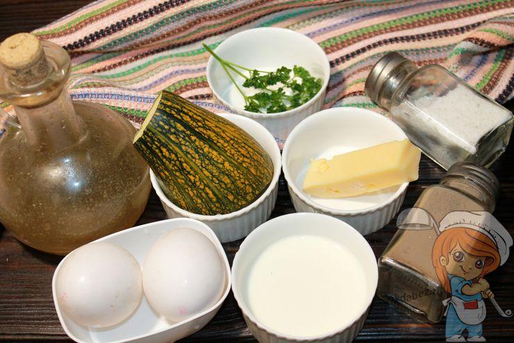 Продукты для приготовления омлета с кабачками