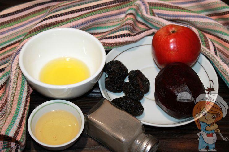 Продукты для салата с черносливом и свеклой