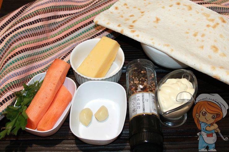Ингредиенты для рулета с морковью