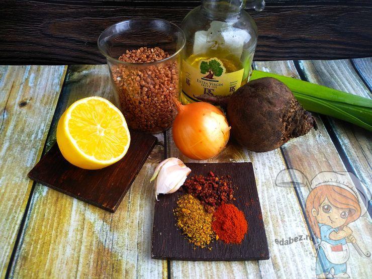 Ингредиенты для приготовления гречки со свеклой
