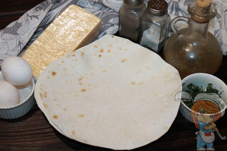 Ингредиенты для приготовления омлета на лаваше