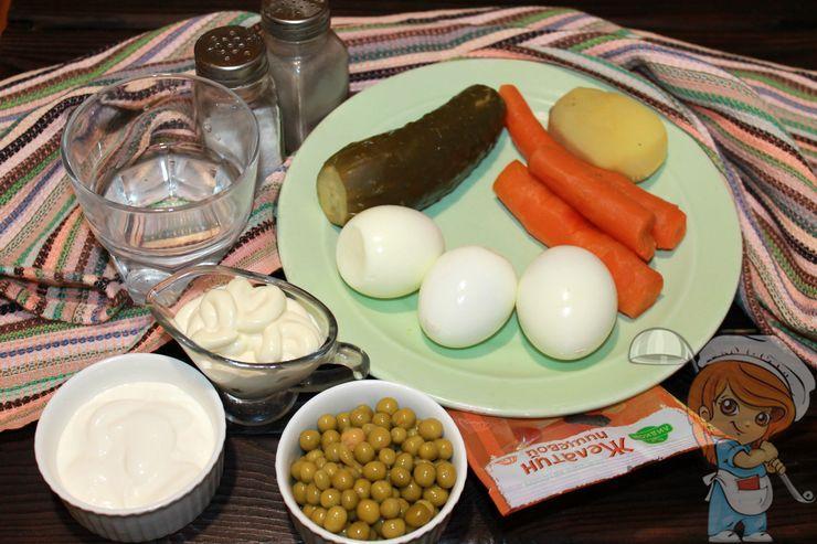 Ингредиенты для оливье без мяса