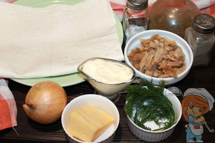Продукты для лаваша с грибами и сыром
