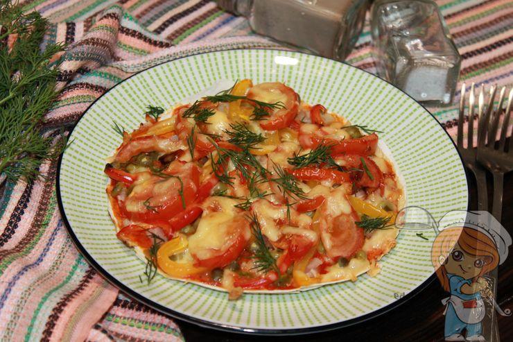 Пицца из лаваша в духовке, рецепт с фото