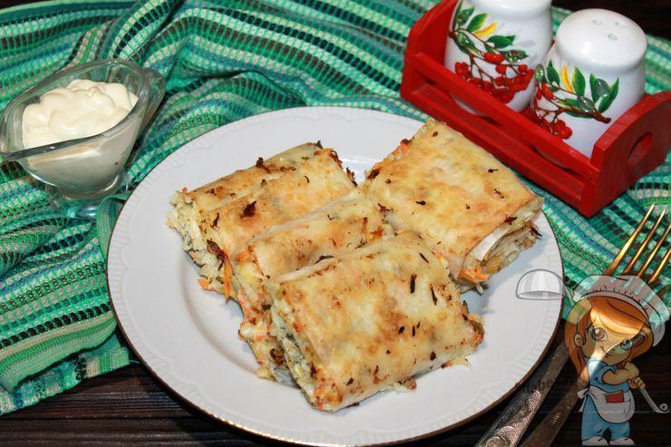 Лаваш с капустой, пошаговый рецепт приготовления