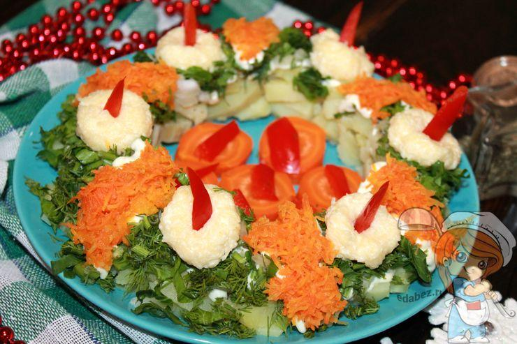 Рождественский салат Венок, рецепт с фото